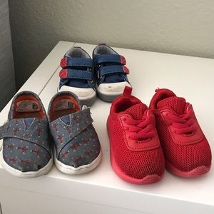 Three pairs of baby shoes Toms, H&M, See Kai Run